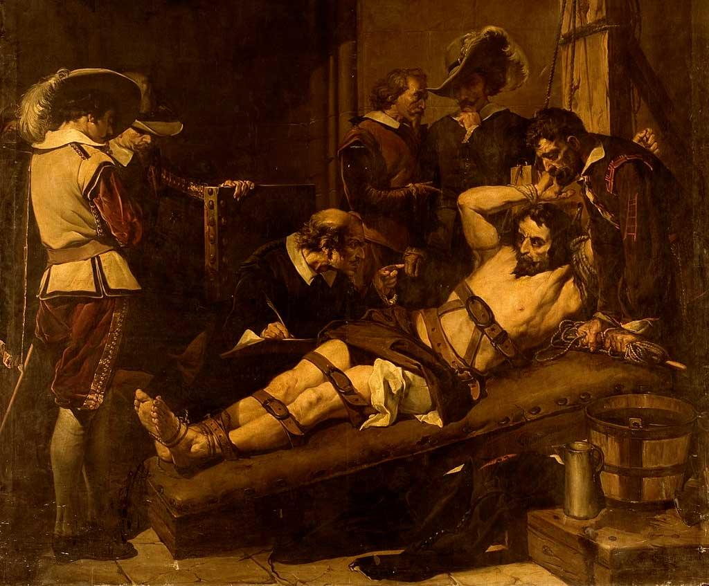 Don Rodrigo Calderón en el tormento, de José María Rodríguez de Losada. 1865. (Museo del Prado, Madrid).